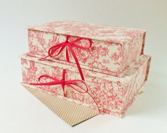 Vintage Look Handmade Storage Boxes - Two Toile and Linen Stacking 6 and 7 Inch Storage Boxes - Pretty for Jewelry, Trinkets, Hankies