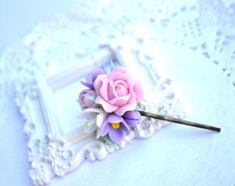 Pink roses white blossom flower hair clip. Pink bobby pin. Wedding pink roses hair clip pin accessories. Bridal pink roses hair clip pin