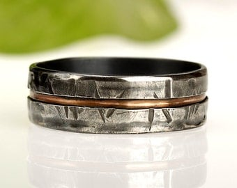 Rustic Men's ring, Unique Men's ring, Man's Wedding Band, Unique Man's Ring, Men's wedding ring, Gift for men, Silver & Copper Ring, RS-1081
