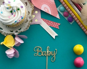 Baby Shower Table Decoration Cupcake Topper for Him Her Gender Sex Reveal Glitter Decorations Gender Neutral Baby Shower Happy Birthday