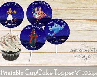 Aladdin Cupcake toppers printable, Aladdin birthday, Printable cupcake toppers, Birthday party supplies, Aladdin Cupcake toppers