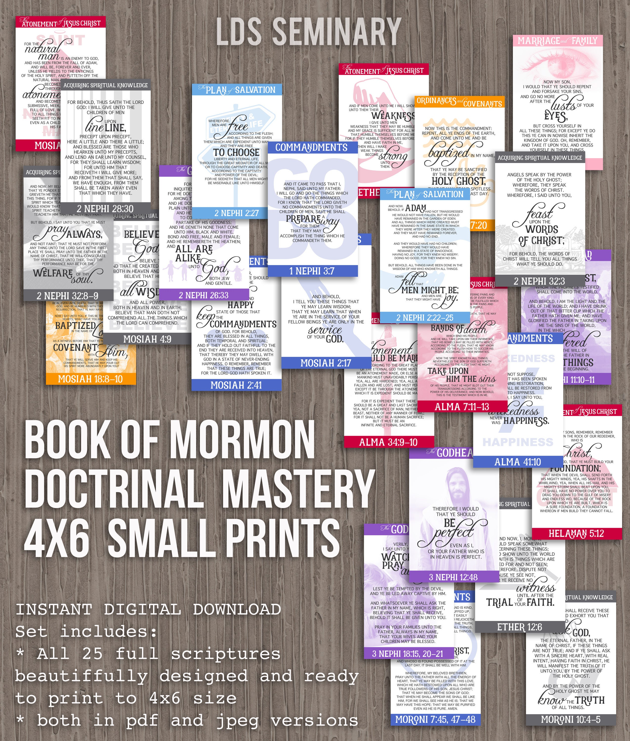 4x6 book of mormon doctrinal mastery posters for lds