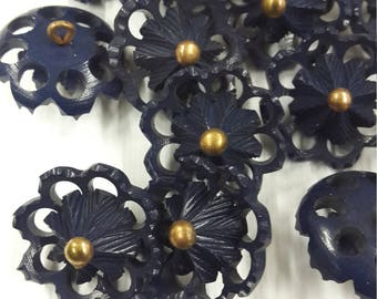 Vintage buttons blue plastic flower 60 years 20-25 mm