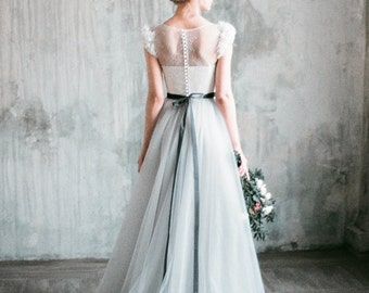 Neva - romantic grey wedding dress, tulle a-line wedding gown, corset bodice with chantilly lace, dress with delicate chiffon flowers, beads