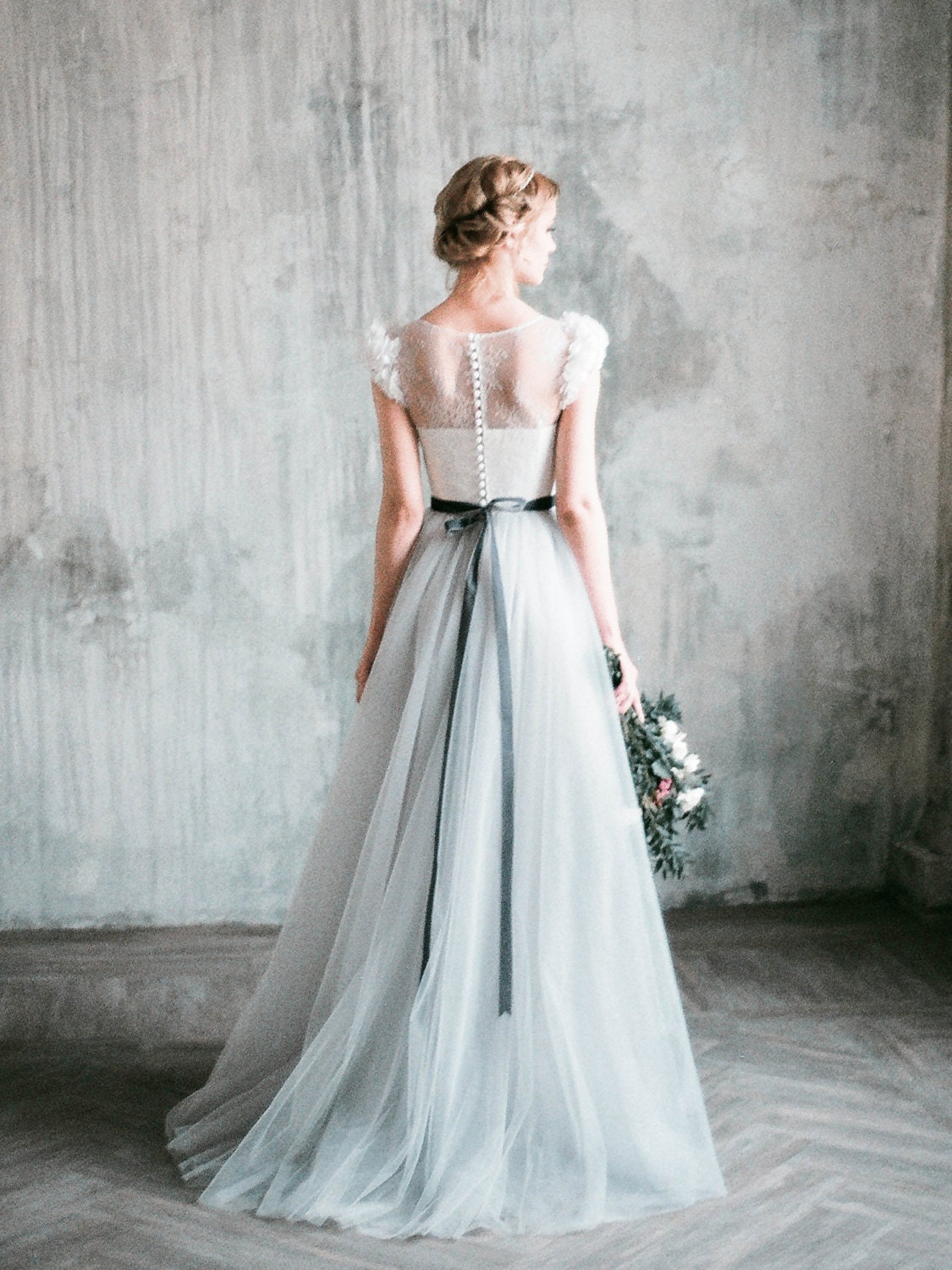 Neva romantic grey wedding dress tulle a line wedding gown for Gray dresses for a wedding