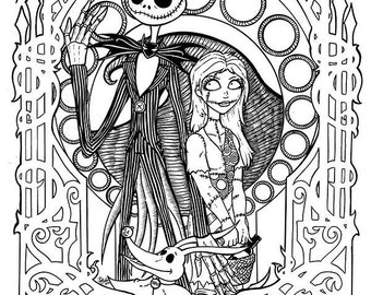 Etsy your place to buy and sell all things handmade for Jack and sally coloring pages