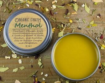 MENTHOL Herbal Chest Rub | Natural Vapor Rub | Congestion Relief | Menthol Chest Balm | Herbal Chest Balm