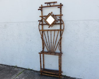 Victorian Bamboo Hall Tree With Beveled Mirror, Coat, Hat Rack, Umbrella And Cane Holder, Circa 1890-1910 Antique Bamboo Furniture.