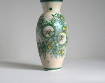 Vintage FRANCO RUFINELLI Ceramic Vase, Mid Century ITALIAN Art Pottery, Hand Painted Green Floral Artistic Composition, Retro Studio Pottery