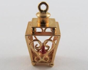 Heart Lantern With Red Enamel Candle Inside 18K Gold Vintage Charm For Bracelet