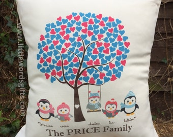 Personalised Owl, Penguin or Birds Family Cushion | Home Sweet Home | Holidays | Christmas | Birthday Gift | Available Worldwide