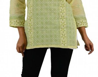 Short Charming Green Hand Embroidered Indian Etnic Cotton Top Kurti