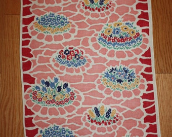 Sweet Floral  Linen Vintage Tea Towel