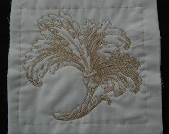 3 Machine embroidered quilt square,blocks ,fluer de lys