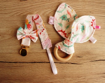 Unique baby gift, New Baby girl gift set, Baby teether, Pacifier clip girl, Bunny ear teether, Baby teething toy, Pacifier holder
