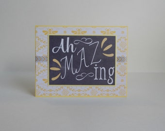 Good Job Card, Paper Handmade Greeting Card, Amazing Card, Encouragement Card, Just Because Card, For a Friend, Congratulations Card, Yellow
