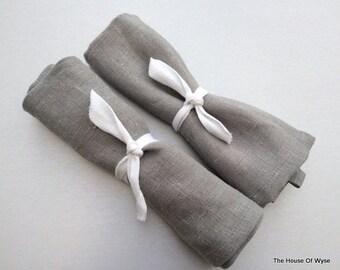 Set of 2 100% Linen Grey Napkins