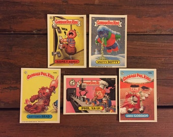 5 Vintage Garbage Pail Kids Cards/ 1986-1987 Sticker Cards/Snotty Dotty/Sidney Kidney/Gored Gordon/Battered Brad/Phil 'Er Up