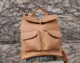 HandMade Tan LEATHER BACKPACK  / Handcrafted leather Rucksack with two front pockets