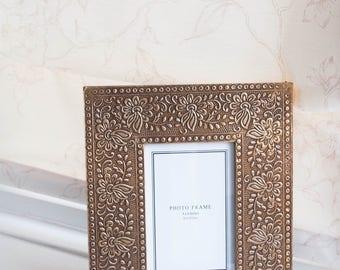 ornamental brass photo frame, Photo Frame, brass frame, gold frame