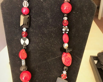 Whimsical Red and Black Long Chunky Necklace #12031