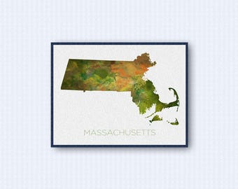 Massachusetts Map Watercolor Poster, United States Map Print, Green Version