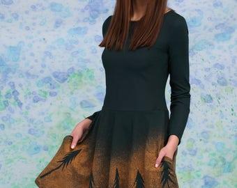 Elven Dress, Summer Dress, Elven Clothing, Forest Clothing, Long Sleeved Dress, Woodland Clothing, Pleated Dress, Festival Dress