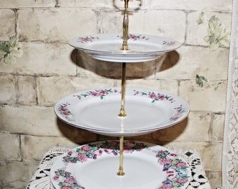 Very Nice Bone China 3-Tier Cake Stand Pink Flowers Motif White Base Gold Hardware Gold Gild Trim