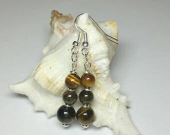 Tiger Eye Earrings, Gemstone Earrings, Silver Handmade Costume Jewellery, Under 20 Gift for Her, Dangle Drop Earrings