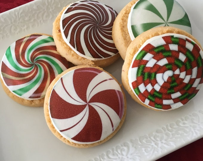 Edible Christmas Candy Cupcake, Cookie or Oreo Toppers - Wafer Paper or Frosting Sheet