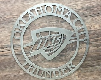 OKC Thunder Circle with Logo (Home Decor, Basketball, Sports, Wall Art, Metal Art)