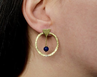 Blue jade studs, brass or silver stud hoops, blue stone hoops, thin hoops, geometric jewelry, minimal  earring, medium size hoops