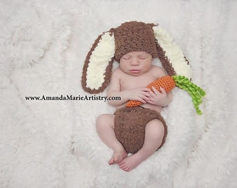 Baby Boy Bunny Hat, Newborn ,,,crochet baby Easter Rabbit Hat & Diaper Cover and carrot  -  crochet baby shower gift- Spring Boy outfit