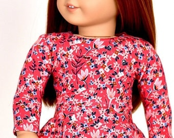 Long sleeve cropped top for 18 inch dolls Color Garden Rouge