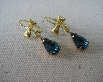 Earrings, Vintage, Montana Blue, Swarovski Teardrop, Rhinestones, Glass Stones, Brass Bow, Leverback, Blue, Gift for Her, Glass Jewel  /E72