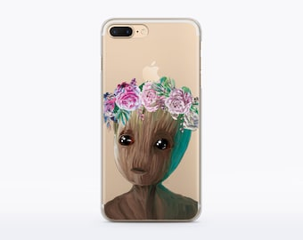 Baby Groot Case Guardians of the Galaxy Case iPhone 7 Case Rubber iPhone 6s Silicone Case Floral Case iPhone SE Case iPhone Cute Case CMCP81