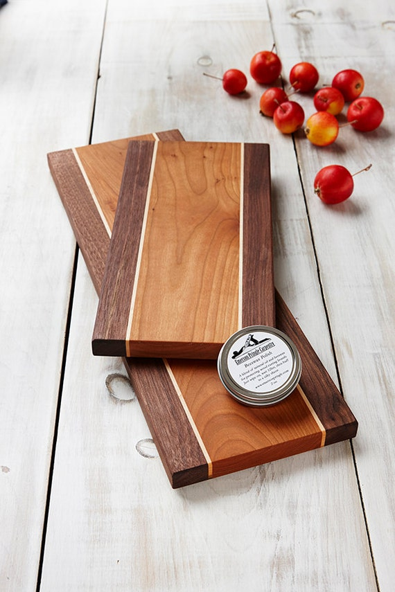 Wood Cheese Board Set Wedding Gift Set Cherry Walnut With