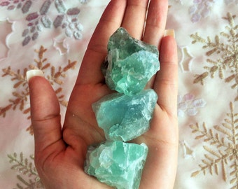 3 Green Fluorite Healing Crystals, Raw Stones Perfect for Crystal Grid