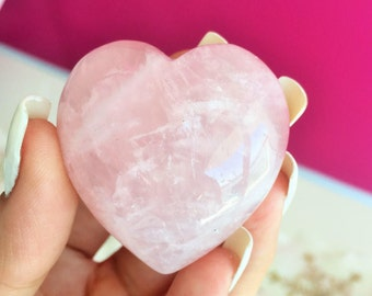 Large Rose Quartz Heart, Healing Crystals and Stones Perfect for Crystal Grids