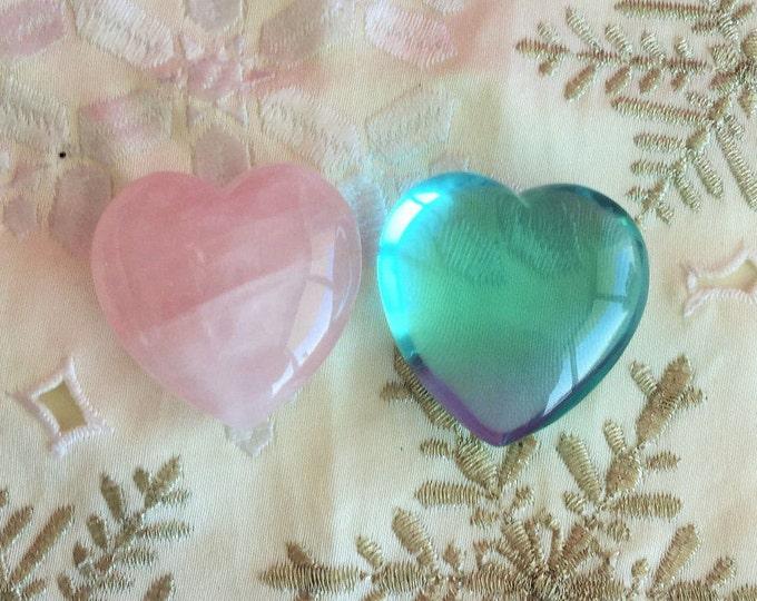 Rose Quartz Heart SET Aqua Obsidian Heart / Crystal Heart SET infused w/ Love and Reiki
