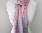 Rosa Seidenschal mit sicher Ironed auf funkelnde Juwelen - alle Jahreszeiten langen rosa Seidenschal, Geschenk für sie, leichte Schal Halstuch