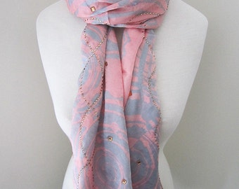 Pink Silk Scarf with Securely Ironed-on Sparkling Jewels - All seasons long pink silk scarf, gift for her, light weight scarf bandana