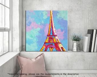 Eiffel Tower Painting, Paris Painting, Acrylic Cityscape, Palette knife Landscape, Contemporary Architecture, Modern Wall art Home Decor, 24