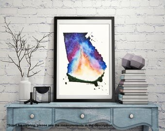 Georgia Map, Starry sky art, State map art, Watercolor Painting, Illustration art, State Print, Long Distance, Gift Ideas, Modern art