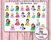 24 Festive Princess Stickers F-09 - Perfect for Erin Condren Life Planners / Journals / Die Cut Stickers.