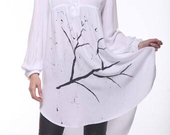 Asymmetric Cotton Tunic,Hand Painted White Shirt , Plus Size Maxi Top, Long White Shirt, Oversized Womens Top, Collar Blouse,Extravagant Top