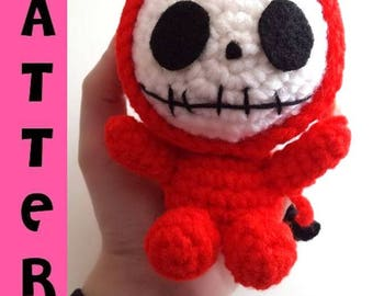 Little Devil - Skeleton Doll Amigurumi - Plush Crochet Pattern - Digital Download PDF