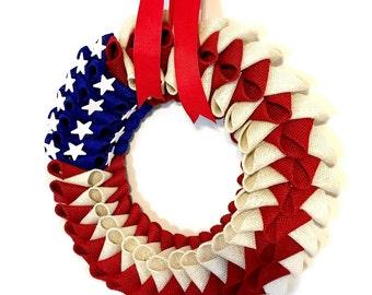 AMERICAN FLAG Burlap Petal WREATH, July 4th Wreath, Patriotic Wreath, Fourth of July Wreath, Military Wreath, Red, White, and Blue Wreath
