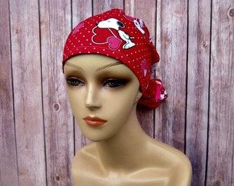 Surgical Scrub Caps - Ponytail Scrub Hat - Scrub Caps - Snoopy - Valentines Scrub Hat