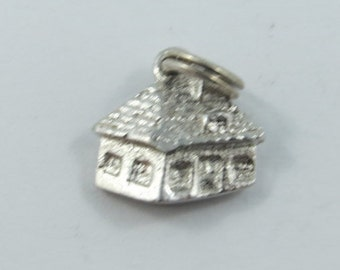 3 D House Sterling Silver Charm.